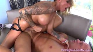 Busty domina pegging muscular lover